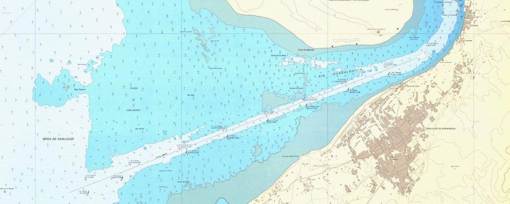 Vista de la carta del canal navegable de la desembocadura del Guadalquivir.