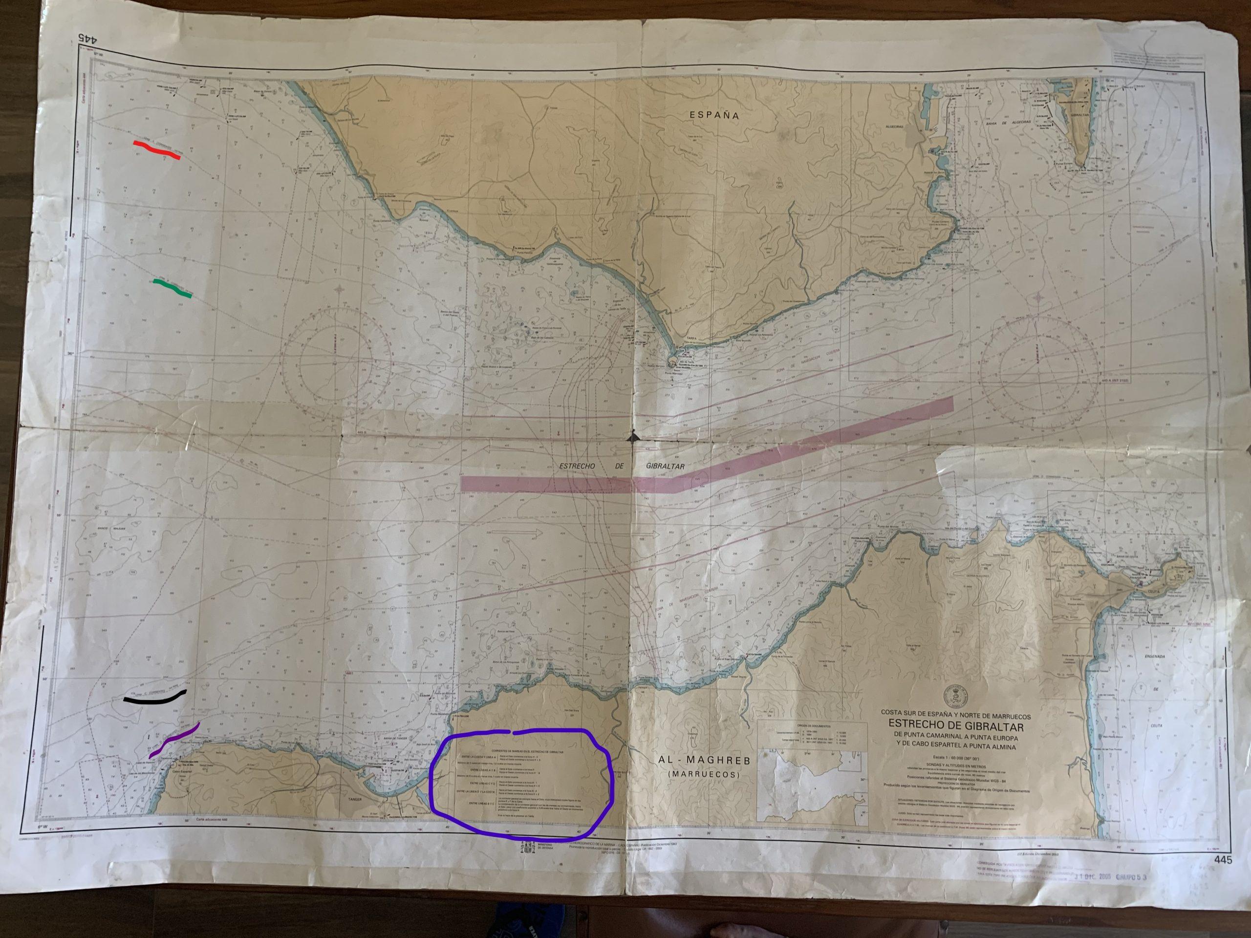 Carta 445 del Estrecho de Gibraltar, publicada por Instítuto Hidrográfico de la Marina en España.