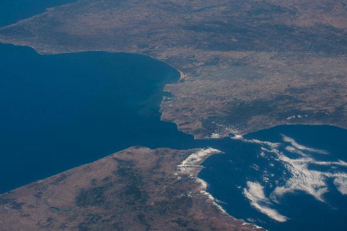 Vista aerea del Estrecho de Gibraltar.