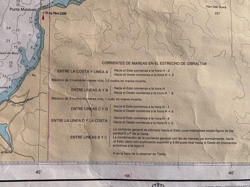 Carta 445. Nota con la dirección de las corrientes en el Estrecho.